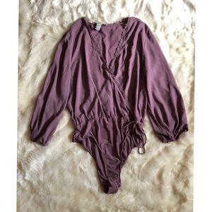 Blousing Lace Trim Vneck Bodysuit